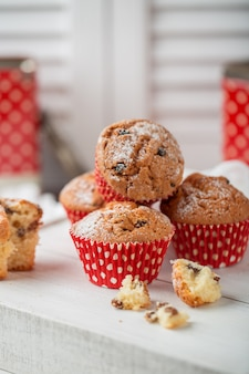 Fresh homemade delicious muffins with raisins