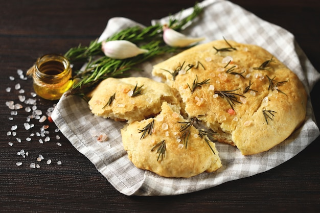 Fresh homemade focaccia with salt and rosemary.