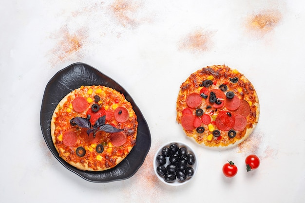 Fresh homemade mini pizzas.