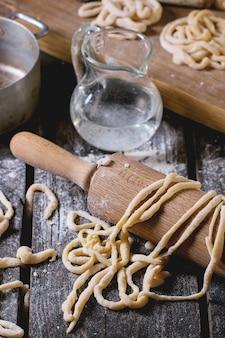 Fresh homemade pasta pici