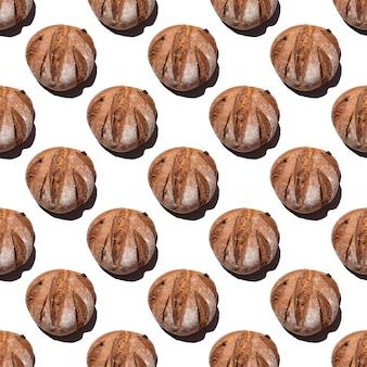 Свежий домашний деревенский ржаной круглый хлеб бесшовные модели, изолированные на белом фоне, вид сверху, квадратная рамка. может использоваться в качестве пищевого фона, основы для текстиля, упаковки
