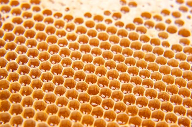 明るいクローズアップの櫛で新鮮な蜂蜜