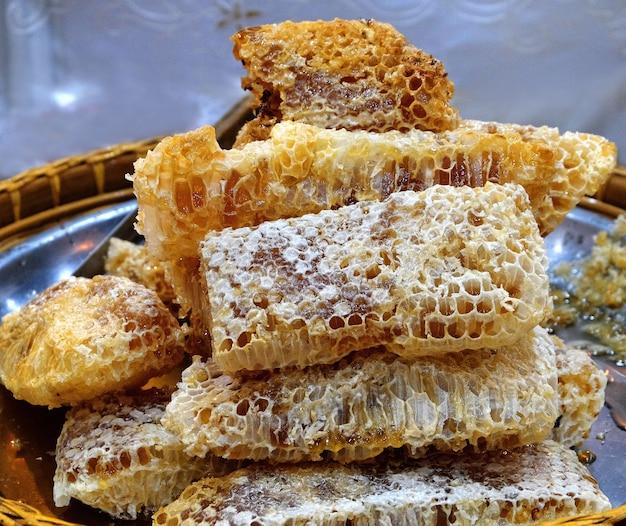 Fresh honeycomb piece.
