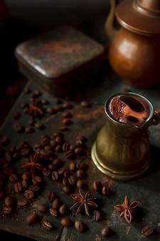 Fresh hot coffee brewed in a turk.