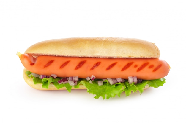 Fresh hot dog isolated on white