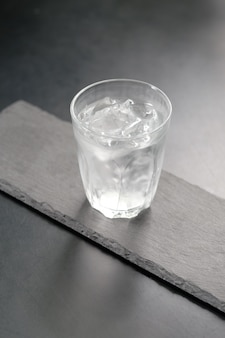 Fresh ice-cold water on the glass