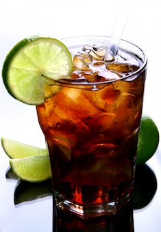 Fresh ice tea glass with lime