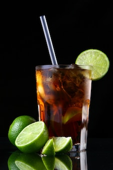 Fresh ice tea glass with lime