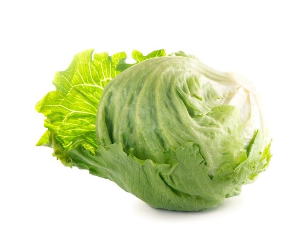 Fresh iceberg lettuce swing, cabbage on white background .