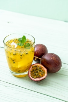 Fresh and iced passion fruit juice - healthy drink