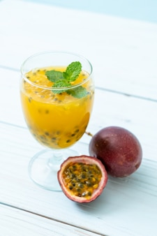 Fresh and iced passion fruit juice