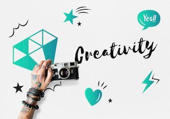 新鮮なアイデアデザイン創造のコンセプト