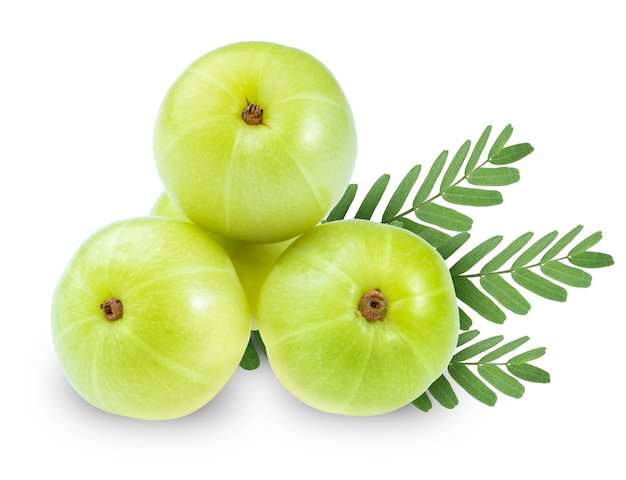 Fresh indian gooseberries on white, phyllanthus emblica isolated with clipping path.
