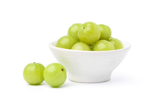 Fresh indian gooseberry fruits isolated on white