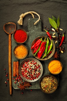Fresh ingredients on cutting board