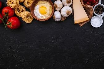 Fresh ingredients for pasta preparation