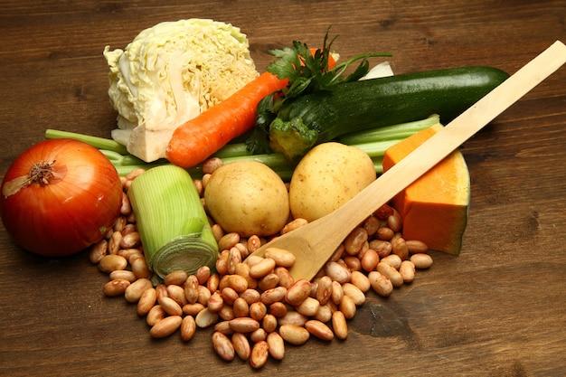 Fresh ingredients for minestrone