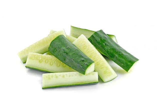 Fresh japanese cucumber sliced isolated