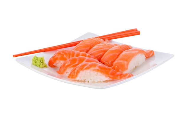Fresh japanese salmon sushi on white.