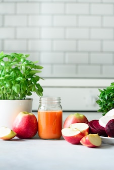 Fresh juice or smoothie, fruits and vegetable