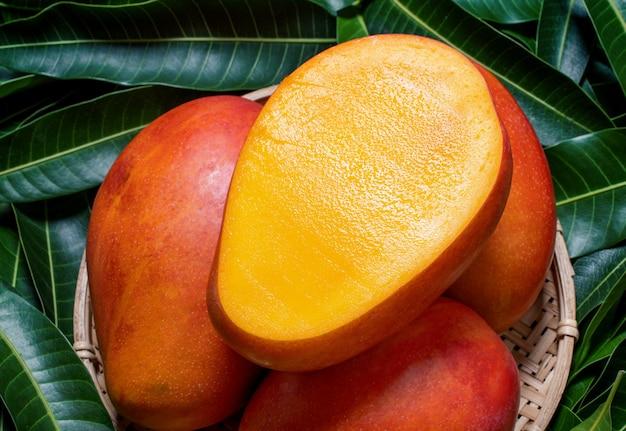 Свежие сочные красивые плоды манго в бамбуковой деревянной корзине на зеленых листьях