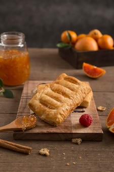 Fresh juicy homemade jam and pastry