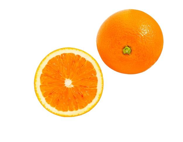オレンジ色のフルーツと白い背景で隔離のスライスの新鮮なジューシー。