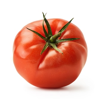 Fresh juicy pink tomato isolated on a white background this years crop