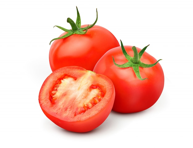 Fresh juicy red tomato with cut in half isolated on white background