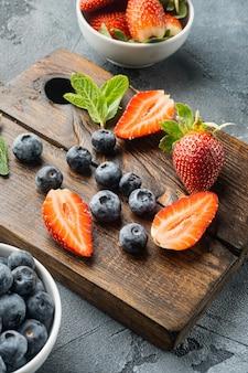 Fresh juicy ripe berries strawberries blueberries