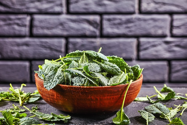 Fresh kale leaves on a clay bowl on dark concrete background in front of a black brick wall, close-up