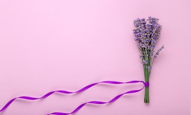Свежий букет цветов лаванды с фиолетовой лентой на цветном розовом фоне.
