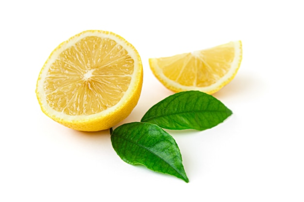 Fresh lemon in a cut with clipping path