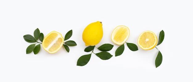 白い背景に緑の葉と新鮮なレモン。