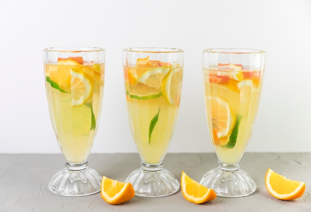 Fresh lemonade glasses in line
