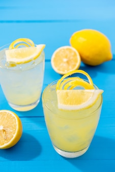 Fresh lemonade juice in glass