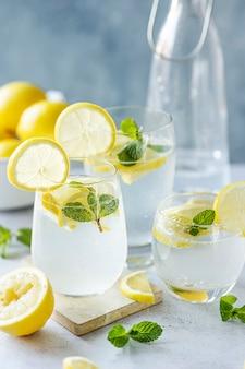 Fresh lemonade soda with sliced lemons in a glass