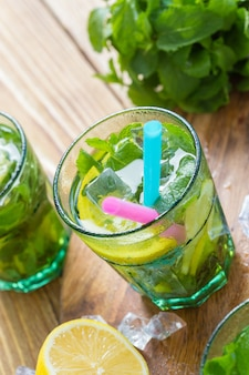Fresh lemonade with ice