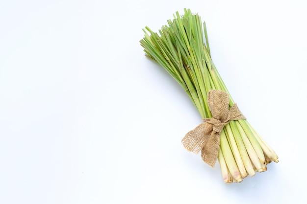 Fresh lemongrass on white background.
