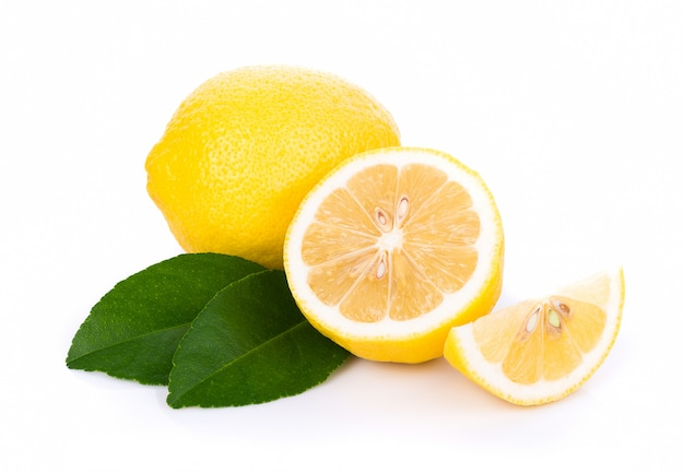 Fresh lemons isolated on white