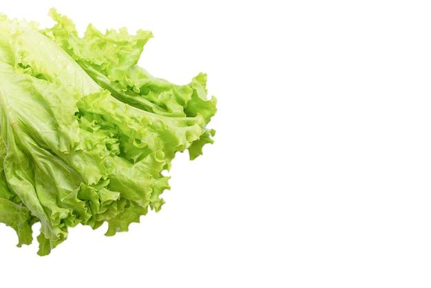 白い背景で隔離の新鮮なレタスサラダ。上面図。