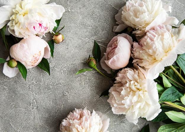 Свежие светло-розовые цветы пиона граничат с копией пространства на серой бетонной поверхности.