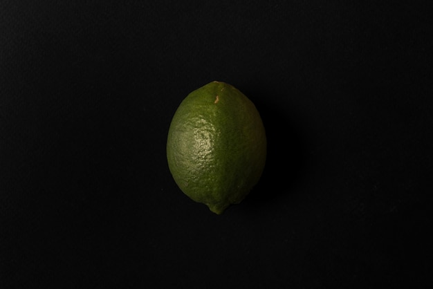 Fresh lime isolated over black