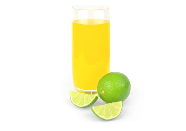 Fresh lime juice isolated on white cutout