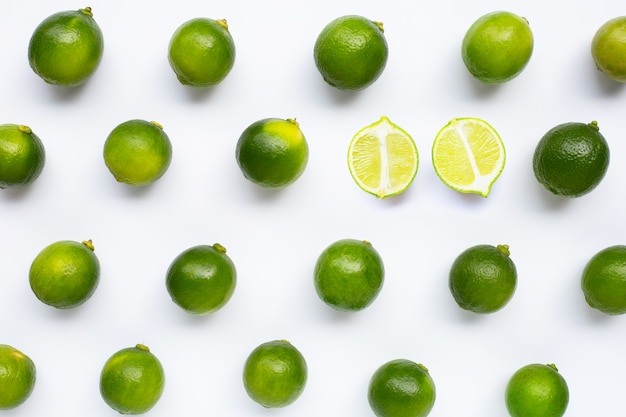 Fresh limes isolated pattern