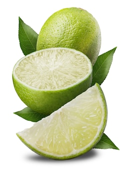 Fresh limes isolated on white. background clipping path