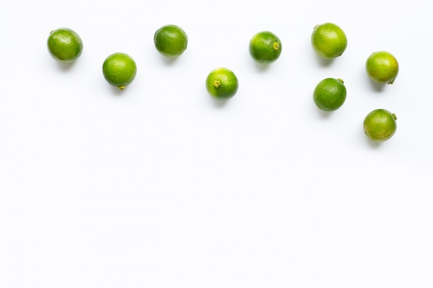 Fresh limes  isolated on white background.