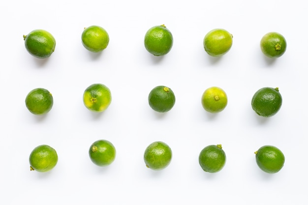 Fresh limes  on white background.