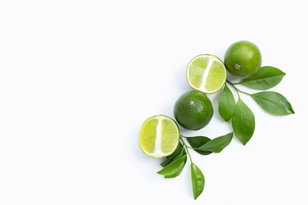Свежие лаймы с зелеными листьями на белом фоне. вид сверху Premium Фотографии