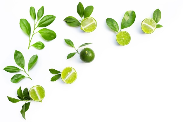 Fresh limes with green leaves on white background. top view Premium Photo